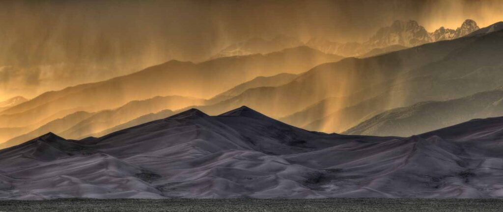 Image of Great Sand Dunes National Park and Preserve at dusk.